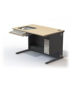 Table informatique écran 19'' encastré sous dalle de verre L1200 – P800 – H760 mm
