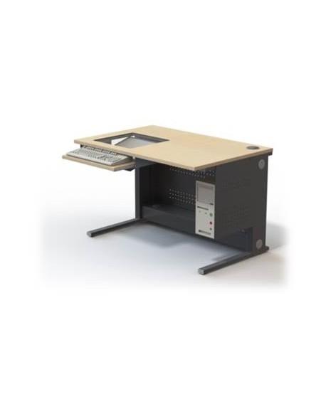 Table informatique écran encastré 19'' sous dalle de verre L1200 – P800 – H760 mm