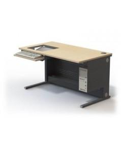 Table informatique écran 19'' encastré sous dalle de verre L1400 – P800 – H760 mm