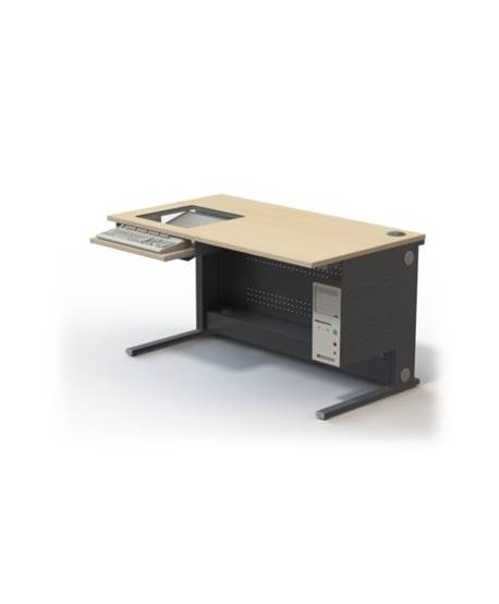 Table informatique écran encastré 19'' sous dalle de verre L1400 – P800 – H760 mm